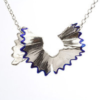 Blue pencil shaving necklace