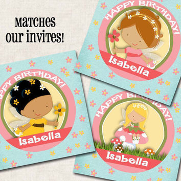 Fairies Cupcake Toppers / Tags, pink blue yellow, birthday (Digital File)