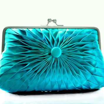 Turquoise Blue Satin Button Clutch - Size Large - Ready To Ship
