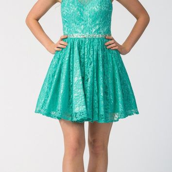 Jade Short Homecoming Dress with Keyhole Back