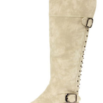 Not Rated Frontline Cream Studded Knee High Riding Boots