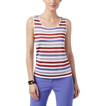 Anne Klein Womens Striped Shimmer Tank Top