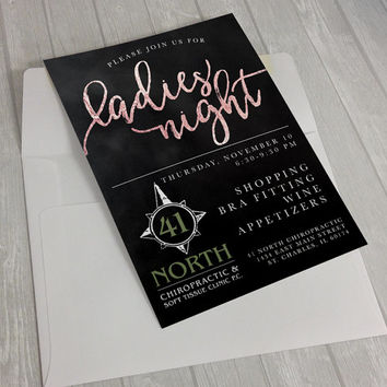 Ladies Night Invitation, Printable Invitation, Custom Invitation, Girls Night, Bachelorette Party, Rose Gold, Chalkboard, Calligraphy