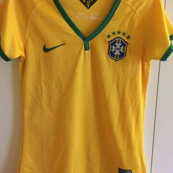 Sale! Vintage Nike Brasil soccer Jersey Brazil Football Shirt women's Medium Free US s