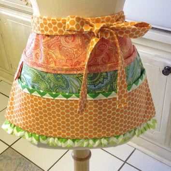 Crafter's Apron, Half Apron With Pockets, Orange and Green Apron, Teacher's Apron