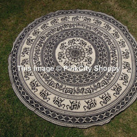 Elephant Mandala Round, Beach Throw, Hippy Hippie Boho gypsy Cotton Tablecloth Beach Towel, Round Yoga Mat, Wall Hanging, Beach Towel, Round