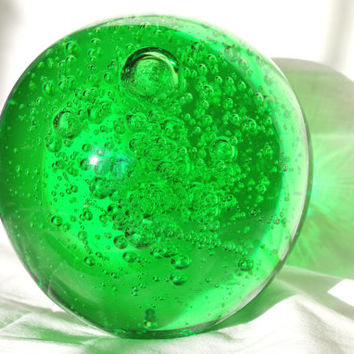Paperweight Blown Glass Emerald Ball , Collectible Bubble Glass Paperweight