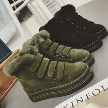 Thick winter designer shoes ugg boots bottom anti-slip Velcro thickening Martin boots cotton shoes Black Army green