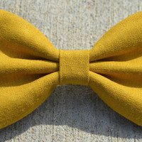 Yellow Linen-Look Hair Bow