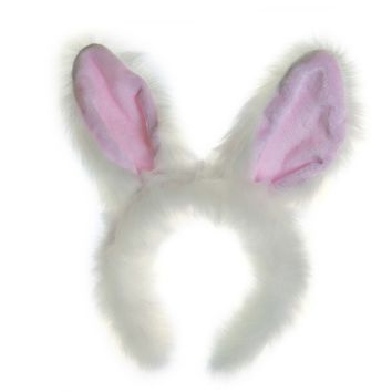 Wildlife Tree Plush White Rabbit Ears Headband Accessory for Bunny Costume, Cosplay, Pretend Animal Play or Forest Animal Costumes