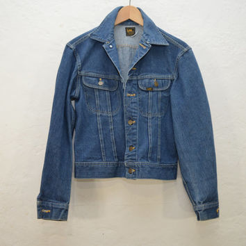 Vintage Blue Denim Jean Jacket / Coat / Crop Top / Cropped / moto biker / lee / small medium