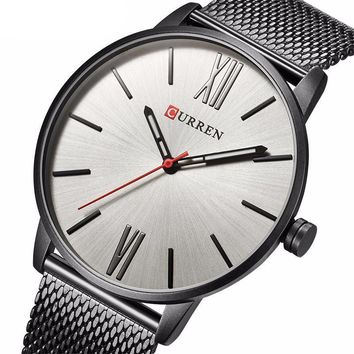 CURREN Men's Luxury Stainless Steel Mesh Band Watch