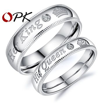 "Cool OPK 2017 New Arrival Romantic Couple Rings ""Her King His Queen"" Stainless Steel Engraving Ring For Lover Best Jewelry Gift GJ607AT_93_12"