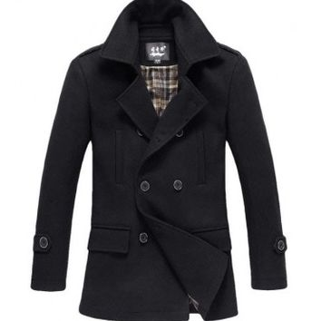 The Foster Wool Peacoat Black - leatherandcotton