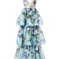 Marchesa Floral Patterned Layered Gown - Farfetch