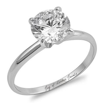A Perfect 1.9CT Round Cut Solitaire Russian Lab Diamond Ring