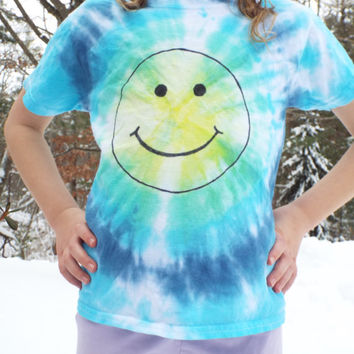 Smiley Face Tie-Dye T-shirt- children's size small (6-8)- Kids Tiedye Tee- Smiley Face Shirt