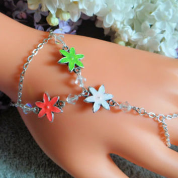Summer Flower, Hand Chain, Slave Bracelet, Hand Harness, Glass Beads, Body Chain, Body Jewelry, Infinity Ring