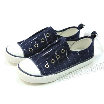 Gap Sneakers Slip On Blue Canvas Sneakers Laceless