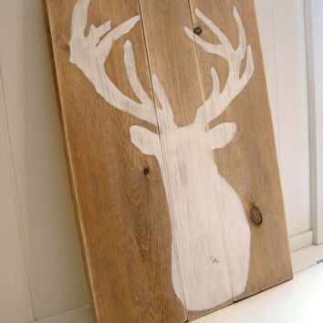 Deer Silhouette on Wood / Antlers / White Distressed / Gallery Wall Hanging Decor / Mantel