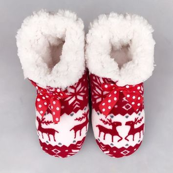 100% Real Photo Winter New Women's Warm Cotton Shoes Snowflake Deer Pattern Indoor Sho