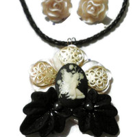 On Sale Fairie Nymph Cameo Mother of Pearl,Tahitian Pearl Accented Leaves Pendant & Rose Earrings Set