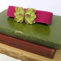 Fuchsia Waist Belt with Gold and Bright Green Flower Belt Buckle, Vintage Elastic Belt, Fit for XS to XL