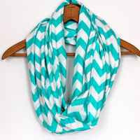 TIFFANY Blue  SOFT Chevron Infinity Scarf   Zig by Prettyloulou