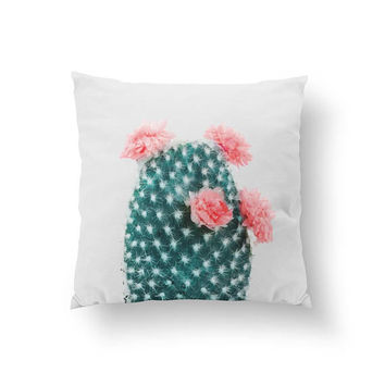 Cactus Coral Flowers Pillow, Boho Desert, Decorative Pillow, Desert Art, Cactus Pillow, Boho Pillow, Home Decor, Cushion Cover, Throw Pillow