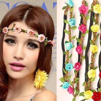 Women Girl Flower Fairy Bohemian Floral Wedding Beach Tiara Crown hair headband = 1697431684