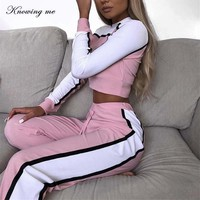 Knowing me 2018 Autumn New Women Tracksuit Set Sweatshirts Joggers Long Sleeve Crop Tops Casual Slim Pants Women Suits Women Set