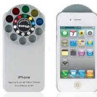 ETOU Protective Plastic Case with Special Lens & Filter Turret for iPhone 4S (Silver)