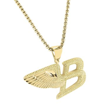 "14k Gold Finish Canary Lab Diamond Luxury Car Angel Wings Pendant  Free 24"" Steel Chain"