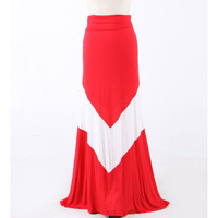 Chevron Striped Red High Waist Maxi Skirt