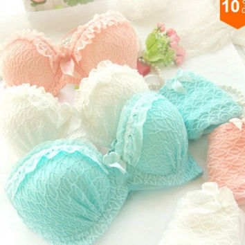 Women underwear Bra Sets Womens Lingerie Ruffle Push-Up bra Lace Underwear Bra briefs sets = 1932291012