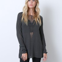 Charlotte's Sweater Top - Charcoal