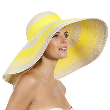 Eric Javits Women's Luxury Headwear Stripe Dip Brim Hat (Citron Mix)