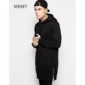 Streetwear Men's Long Black Hoodies Sweatshirts Feece extra long Hoody Side Zip Longline Hip Hop elongated for men Hoodie