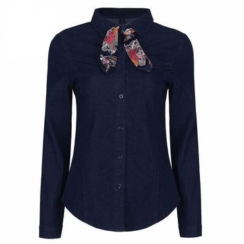Elegant Long Sleeve Denim Shirt with Bow Tie Collar Jeans Blouse for Women