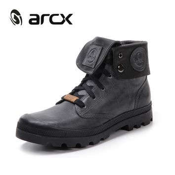 ARCX Retro style Men Leather Motorcycle Boots Lapel Men Leisure Shoes Motorcycle Knigh