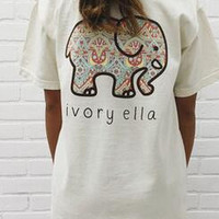 2016 Summer new tshirt Ivory Ella printing  Elephant Print Tops T-Shirt Pocket Jumper Pullover Sweatshirt  Casual shirt Clothes