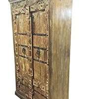 Antique Wardrobe Old Doors Indian Furniture Iron Storage Cabinet Eclectic mix Decor