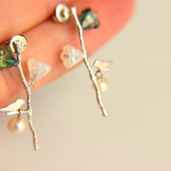 Elegant Little Birdie on Twig Earrings: Rhodium plated silver colored twig pearl, with white and colored  blossoms, gift for christmas
