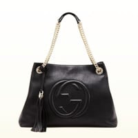 GUCCI Women Shopping Leather Metal Chain Crossbody Satchel Shoulder Bag H-LLBPFSH I