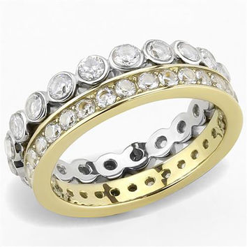 A Perfect 14K Gold 3TCW Round Cut Russian Lab Diamond Ring Wedding Bands Eternity Ring