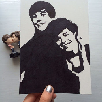 louis tomlinson and harry styles (larry stylinson) one direction pop art