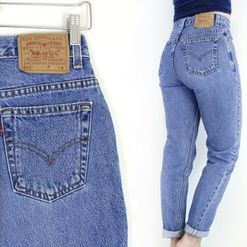 Vintage 90s High Waist Levi's 512 Slim Fit Tapered Jeans - Women's Stone Washed High Rise Medium Blue Denim Jeans - Size 6 27 Waist