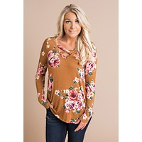 Want And Need Floral Top (Mustard)
