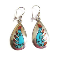 Coral and Turquoise Inlay Wing Dangle Earrings