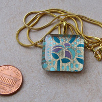 New one of a kind glass tile Japanese chiyogami print square 1 inch with aqua blue purple gold floral motif necklace with chain Go Green